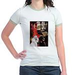 Lady..2 Poodles (ST) Jr. Ringer T-Shirt