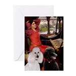 Lady..2 Poodles (ST) Greeting Cards (Pk of 10)