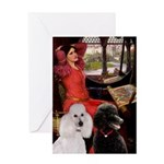 Lady..2 Poodles (ST) Greeting Card