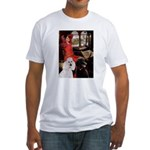 Lady..2 Poodles (ST) Fitted T-Shirt
