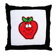 Silly Apple Throw Pillow