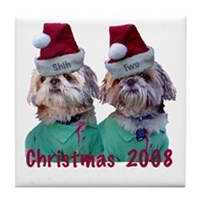 Shih Tzu -Shih Two Christmas Tile Coaster