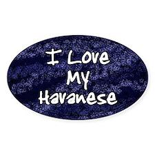 Funky Love Havanese Oval Decal