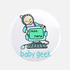 """Baby Geek On Computer 3.5"""" Button (100 pack)"""