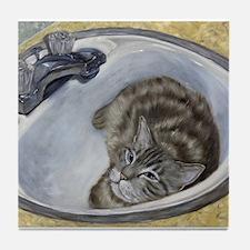 Bertie's Boudoir Sink Cat Tile Coaster