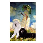 Umbrella / 2 Poodles(b & w) Postcards (Package of
