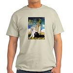 Umbrella / 2 Poodles(b & w) Light T-Shirt