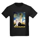 Umbrella / 2 Poodles(b & w) Kids Dark T-Shirt