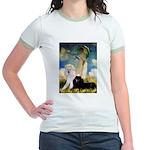 Umbrella / 2 Poodles(b & w) Jr. Ringer T-Shirt