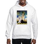 Umbrella / 2 Poodles(b & w) Hooded Sweatshirt