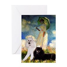Umbrella / 2 Poodles(b & w) Greeting Card