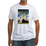 Umbrella / 2 Poodles(b & w) Fitted T-Shirt