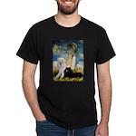 Umbrella / 2 Poodles(b & w) Dark T-Shirt