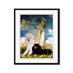 Umbrella / 2 Poodles(b & w) Framed Panel Print