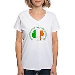 Gaelic Tricolor Shamrock Women's V-Neck T-Shirt