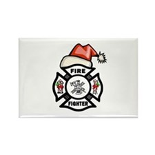 Firefighter Santa Rectangle Magnet