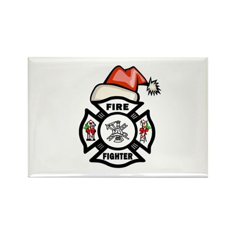 Firefighter Santa Rectangle Magnet (10 pack)