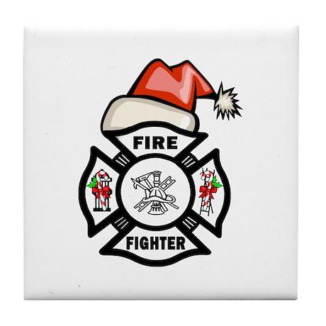Firefighter Santa Tile Coaster