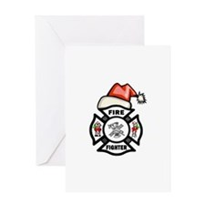 Firefighter Santa Greeting Card