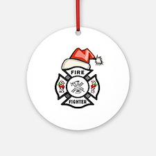 Firefighter Santa Ornament (Round)