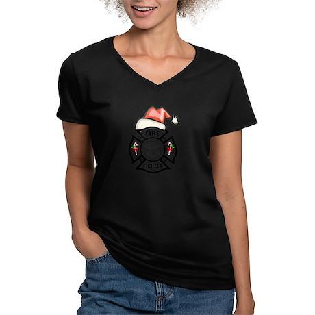 Firefighter Santa Women's V-Neck Dark T-Shirt