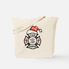 Firefighter Santa Tote Bag