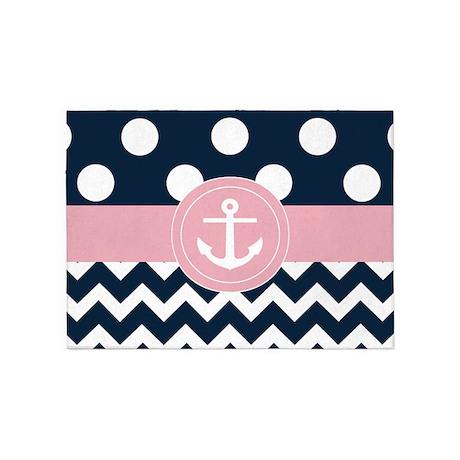 Navy Pink Dots Chevron 5u0027x7u0027Area Rug