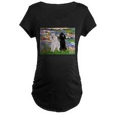 Lilies / 2 Poodles(b&w) T-Shirt