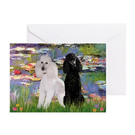 Lilies / 2 Poodles(b&w) Greeting Cards (Pk of 10)