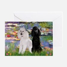 Lilies / 2 Poodles(b&w) Greeting Card