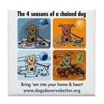 4 Seasons of Chained Dog Tile Coaster