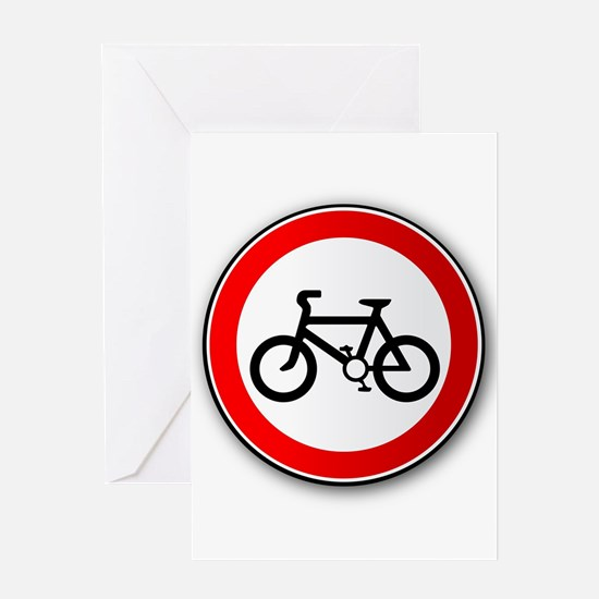 Cyclist Road Traffic Sign Greeting Cards