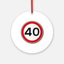 40 MPH Limit Traffic Sign Round Ornament