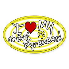Hypno I Love My Great Pyrenees Oval Sticker Ylw