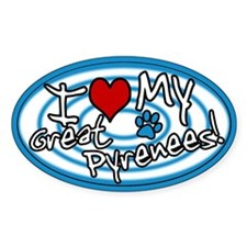 Hypno I Love My Great Pyrenees Oval Sticker Blue