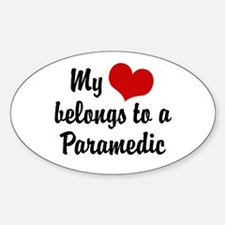 My Heart Belongs to a Paramedic Oval Decal