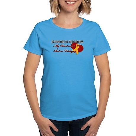 My Heart Wears Red on Fridays Women's Dark T-Shirt