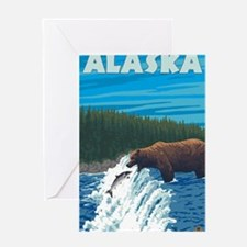 Alaska - Bear Fishing for Salmon Greeting Cards