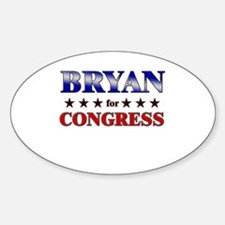BRYAN for congress Oval Decal