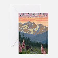 Olympic National Park, WA - Bear & Cubs w/ Flowers