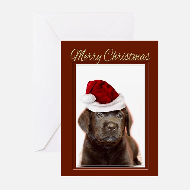 Christmas Labrador Puppy Greeting Cards