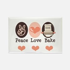 Peace Love Bake Bakers Baking Rectangle Magnet