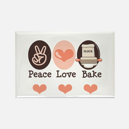 Peace Love Bake Bakers Baking Rectangle Magnet