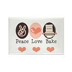 Peace Love Bake Bakers Baking Rectangle Magnet (10