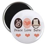Peace Love Bake Bakers Baking Magnet