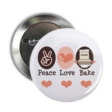 "Peace Love Bake Bakers Baking 2.25"" Button (10 pac"