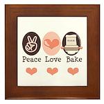 Peace Love Bake Bakers Baking Framed Tile