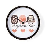 Peace Love Bake Bakers Baking Wall Clock