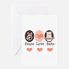 Peace Love Bake Bakers Baking Greeting Card