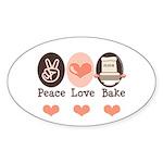 Peace Love Bake Bakers Baking Oval Sticker